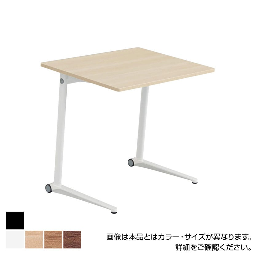 MS85GJ   ライブス パーソナルテーブル スクエア天板 幅650×高さ700mm ブラック脚 ホワイト/ネオウッド 傾斜天板(オカムラ)