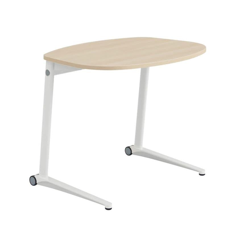 MS85JF | ライブス パーソナルテーブル ラウンド天板 幅792×奥行629×高さ650mm ホワイト脚 プライズウッド 水平天板(オカムラ)