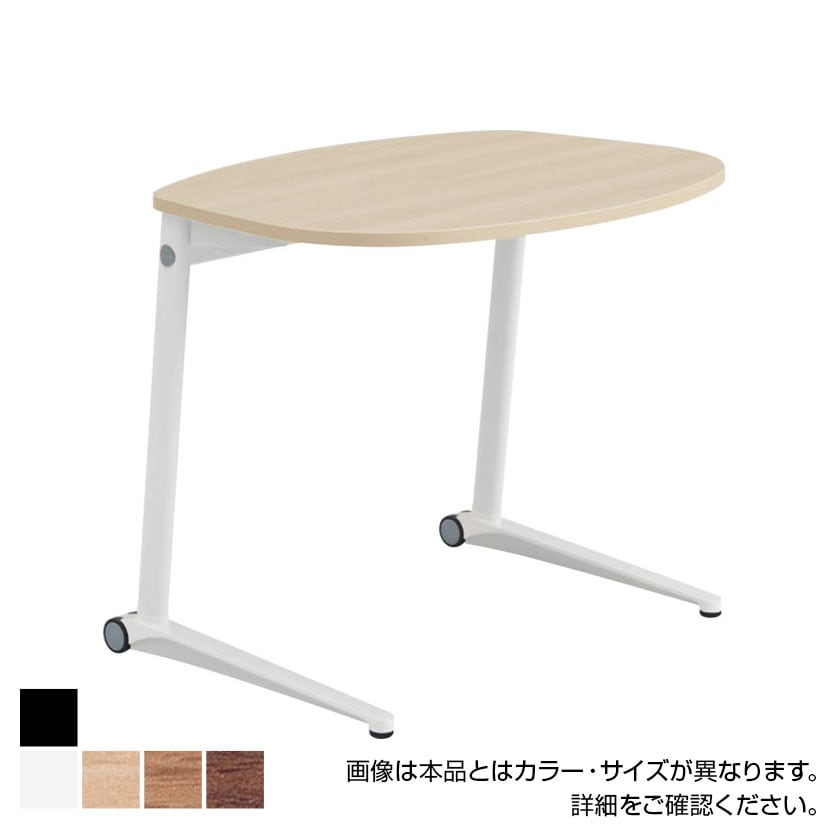 MS85MF | ライブス パーソナルテーブル ラウンド天板 幅792×奥行629×高さ650mm ブラック脚 ホワイト/ネオウッド 水平天板(オカムラ)