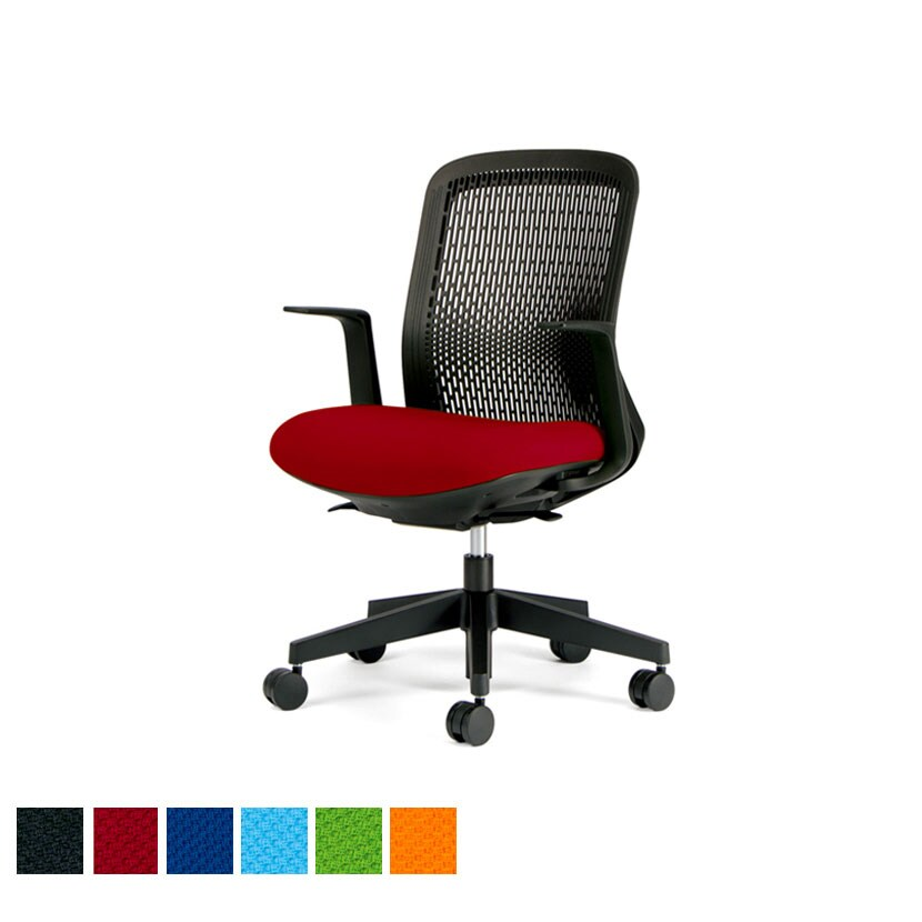 KB-TR60SEL | オフィスチェア Try(トライ) スモークブラックシェル ローバック L字肘 3Dフォルムグラデーションメッシュ プラス(PLUS)