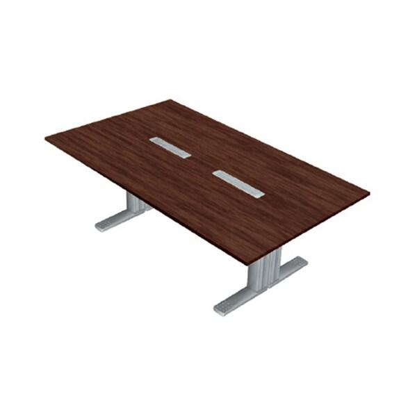 XL-2412KG LM/M4 | XF DESK TYPE-L XFデスク タイプL 会議テーブル マホガニー天板 シルバー脚 幅2400×奥行1200×高さ720mm プラス(PLUS)