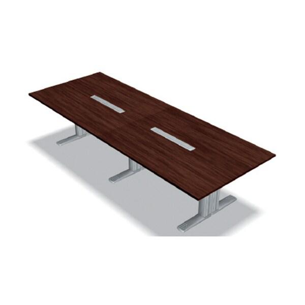 XL-3212KG LM/M4 | XF DESK TYPE-L XFデスク タイプL 会議テーブル マホガニー天板 シルバー脚 幅3200×奥行1200×高さ720mm プラス(PLUS)