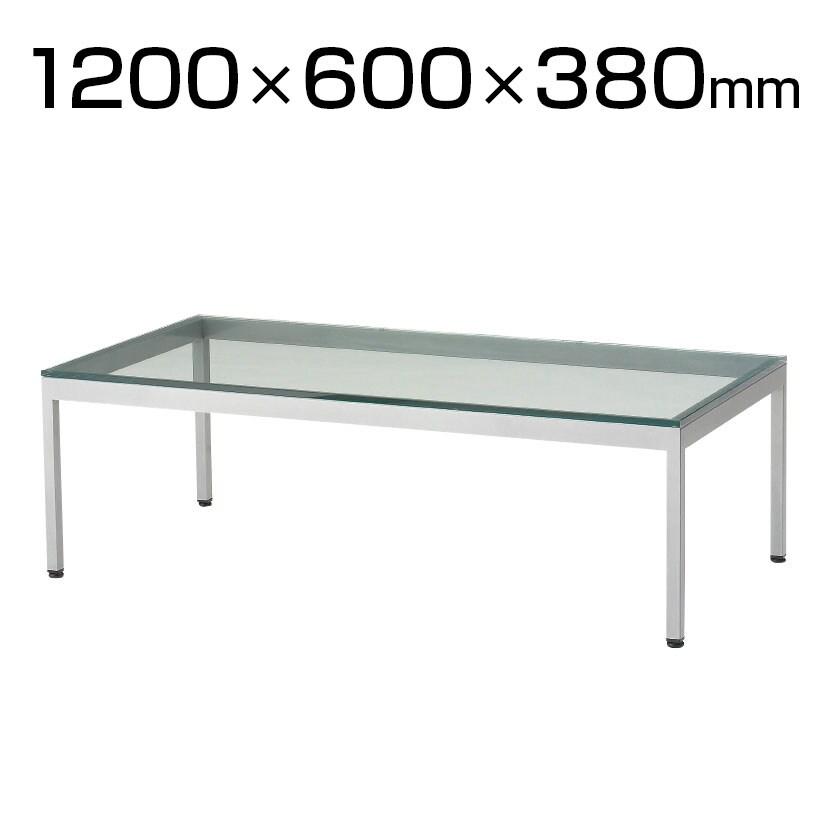 QUON(クオン) ガラスセンターテーブル 応接テーブル 透明ガラス シルバー4本脚 幅1200×奥行600×高さ380mm QU-TB-53-1200