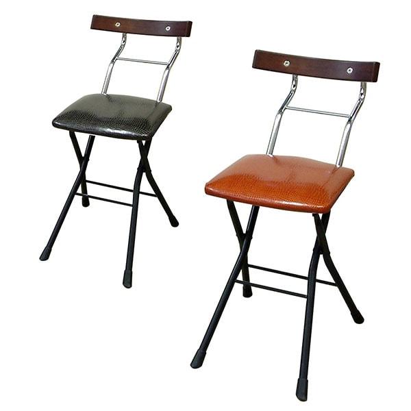 ロイドチェアー 折りたたみ椅子 作業椅子 リザード柄レザー 天然木化粧合板仕様 作業用チェアー