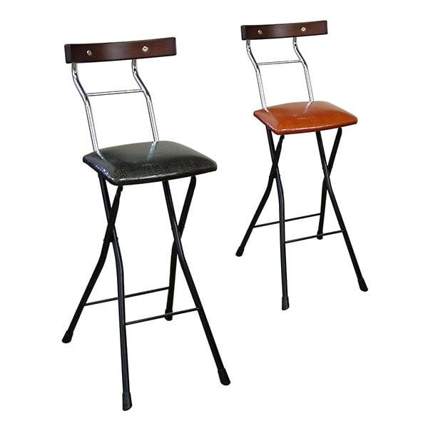 ロイドチェアー ハイ 折りたたみ椅子 作業椅子 リザード柄レザー 天然木化粧合板仕様 作業用チェアー