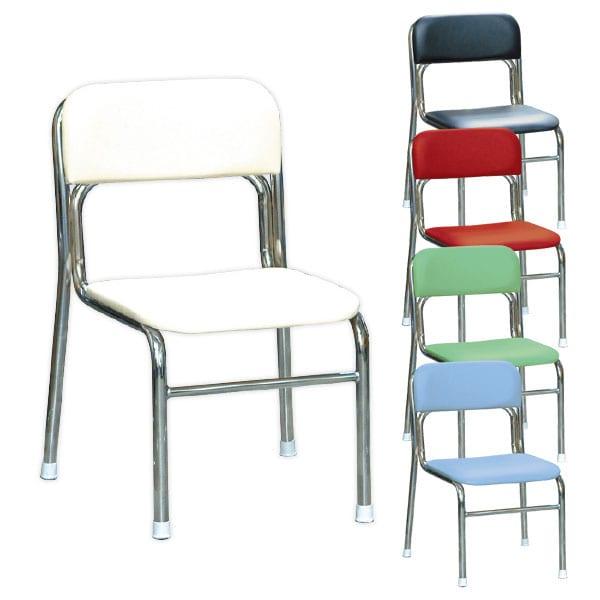 リブラチェアー 座面高340mm 待合椅子 クロムメッキ仕様 作業椅子