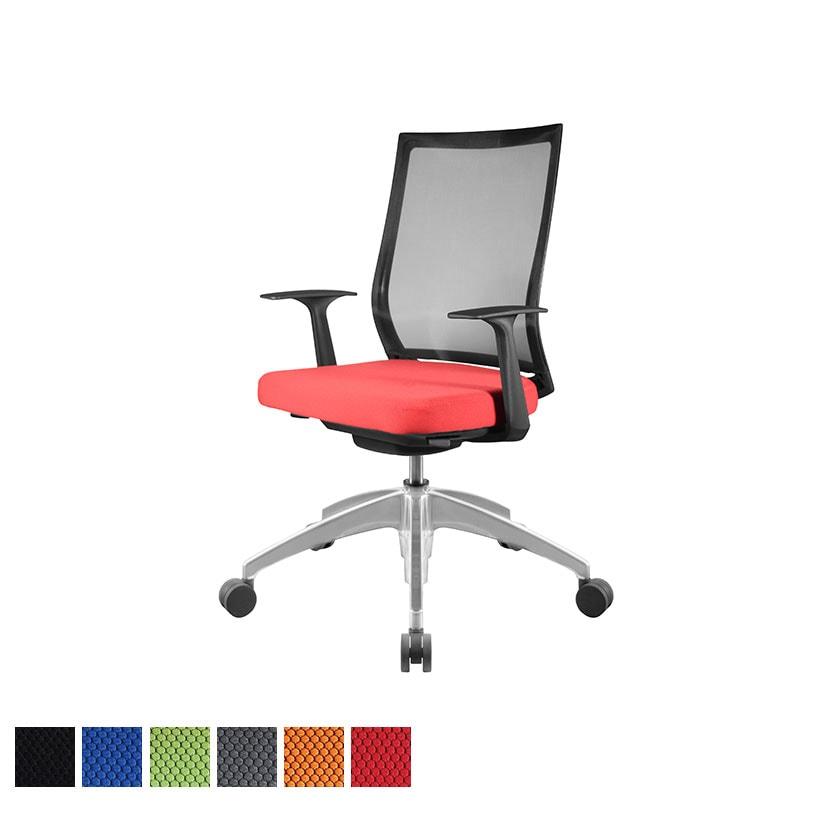 オフィスチェアAir's(エアーズ) アルミベース+ポリッシュシリンダー 可動肘 透過メッシュ素材