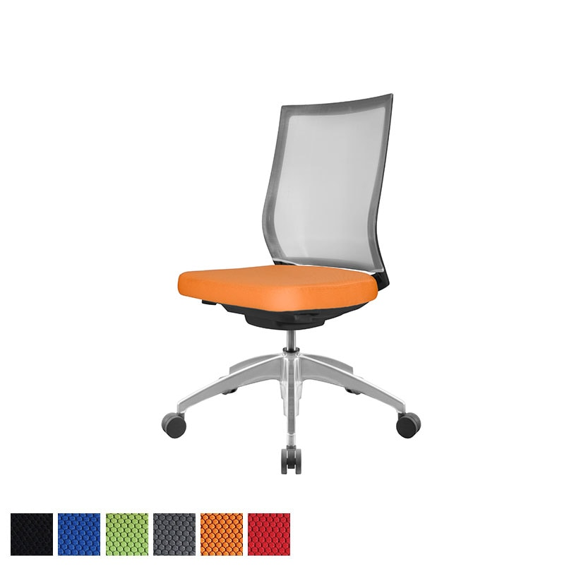 オフィスチェアAir's(エアーズ) アルミベース+ポリッシュシリンダー 肘なし 透過メッシュ素材