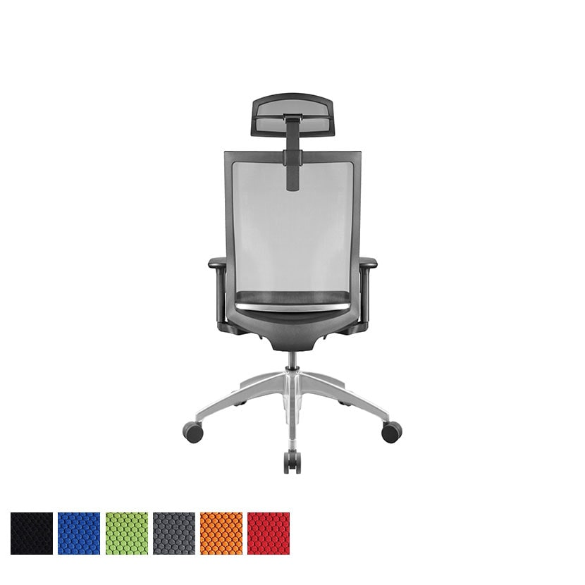 オフィスチェアAir's(エアーズ) アルミベース+ポリッシュシリンダー ヘッドレスト付き 可動肘 透過メッシュ素材