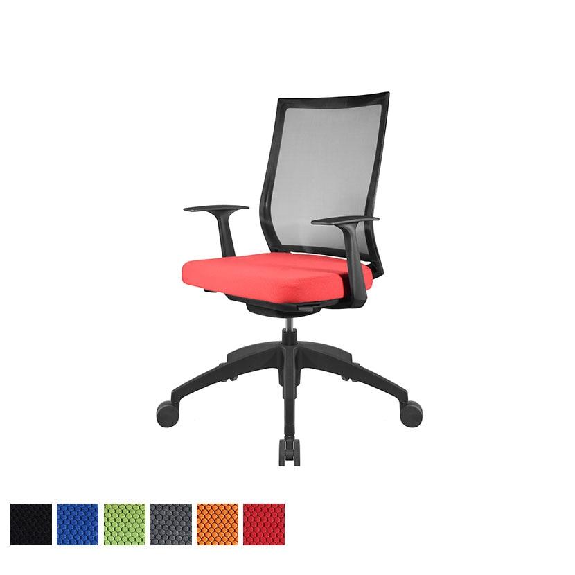 オフィスチェアAir's(エアーズ) ナイロンベース+ブラックシリンダー 可動肘 透過メッシュ素材