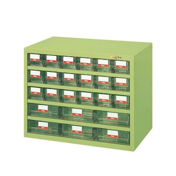 サカエ ハニーケース パーツキャビネット 樹脂ボックス 小6列3段+大3列2段 均等耐荷重50kg 幅690×奥行450×高さ540mm グリーン アイボリー HFS-186TL