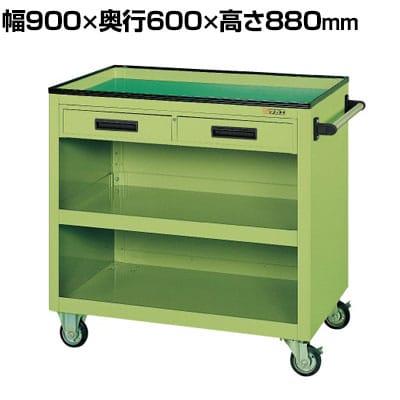サカエ パネルワゴン(ゴム車・引出付き) PGW-5C 幅900×奥行600×高さ880mm 均等耐荷重300kg