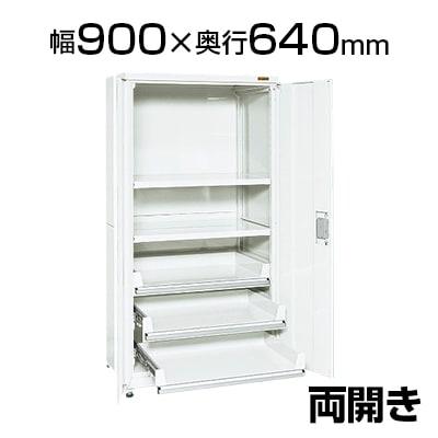 サカエ PNH9063C3W | 保管システム収納庫 鍵付き 両開扉タイプ 保管庫 均等耐荷重250kg/段 幅900×奥行640×高さ1800mm