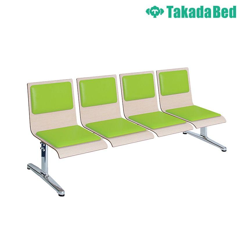 高田ベッド ソファー・チェア TB-1163-03 モッカー(四人掛) ゆったり空間 待合室 衛生的 鏡面仕上げアルミベース採用 カラー(シート部 18色)選択可能