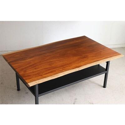 カシュウ(CSW) リビングテーブル 棚付き 天板アカシア無垢(ラッカー塗装) 木目 センターテーブル 幅900×奥行550×高さ350mm
