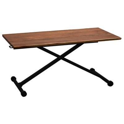 カシュウ(CSW) リフトテーブル 天板アカシア無垢(ラッカー塗装) 木目 幅1200×奥行600×高さ250〜710mm