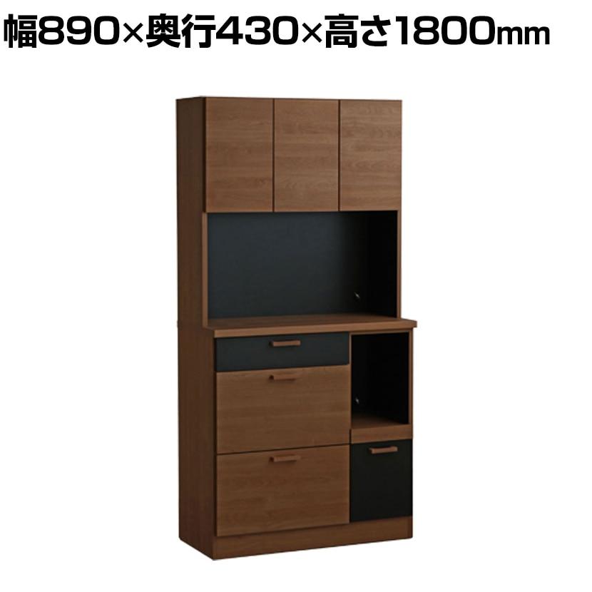 TMモデロ 90キッチンボード BR / BK 食器棚 キッチン収納 幅890×奥行430×高さ1800mm
