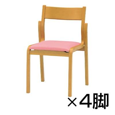 【4脚セット】会議椅子 ミーティングチェア FKBシリーズ 木製チェア 肘なしタイプ レザーチェア / FKBL