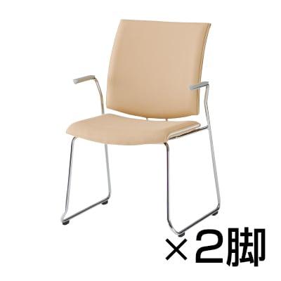 【2脚セット】会議椅子 おしゃれ FMPシリーズ ミーティングチェア ループ脚タイプ 肘付き レザーチェア / FMP-R2AL
