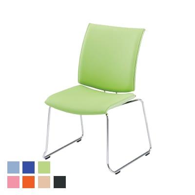 FMPシリーズ ミーティングチェア 会議椅子 おしゃれ ループ脚タイプ 肘なし レザーチェア