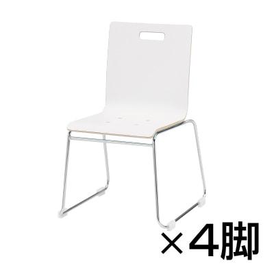 【4脚セット】会議椅子 ミーティングチェア PMシリーズ リフレッシュチェア ループ脚タイプ 木製 / PM-55M