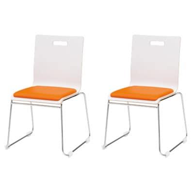 【2脚セット】会議椅子 おしゃれ PMシリーズ リフレッシュチェア ループ脚タイプ レザーチェア / PM-55MPL