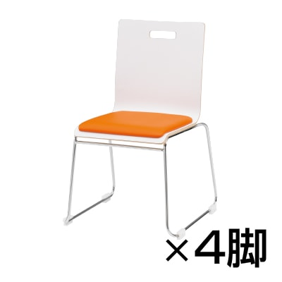【4脚セット】会議椅子 おしゃれ PMシリーズ リフレッシュチェア ループ脚タイプ レザー張り