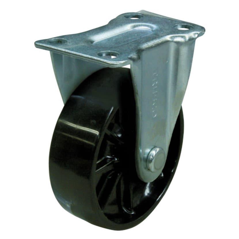 [オプション]TRUSCO 樹脂製平台車用 固定キャスター 幅47×奥行75×高さ93mm 直径75mm 導電性ナイロン車(黒色) TYK-75ND