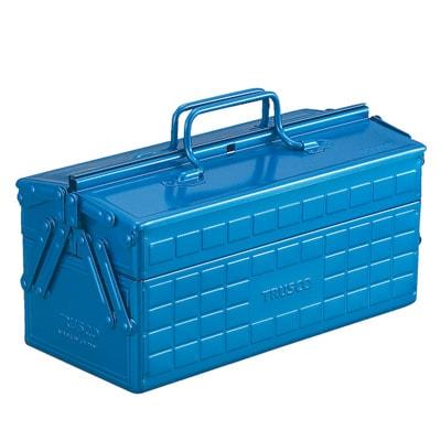 ST-350-B   2段工具箱 ツールボックス 道具箱 国産 幅350×奥行160×高さ215mm ブルー トラスコ中山 (TRUSCO)/ 120-1123
