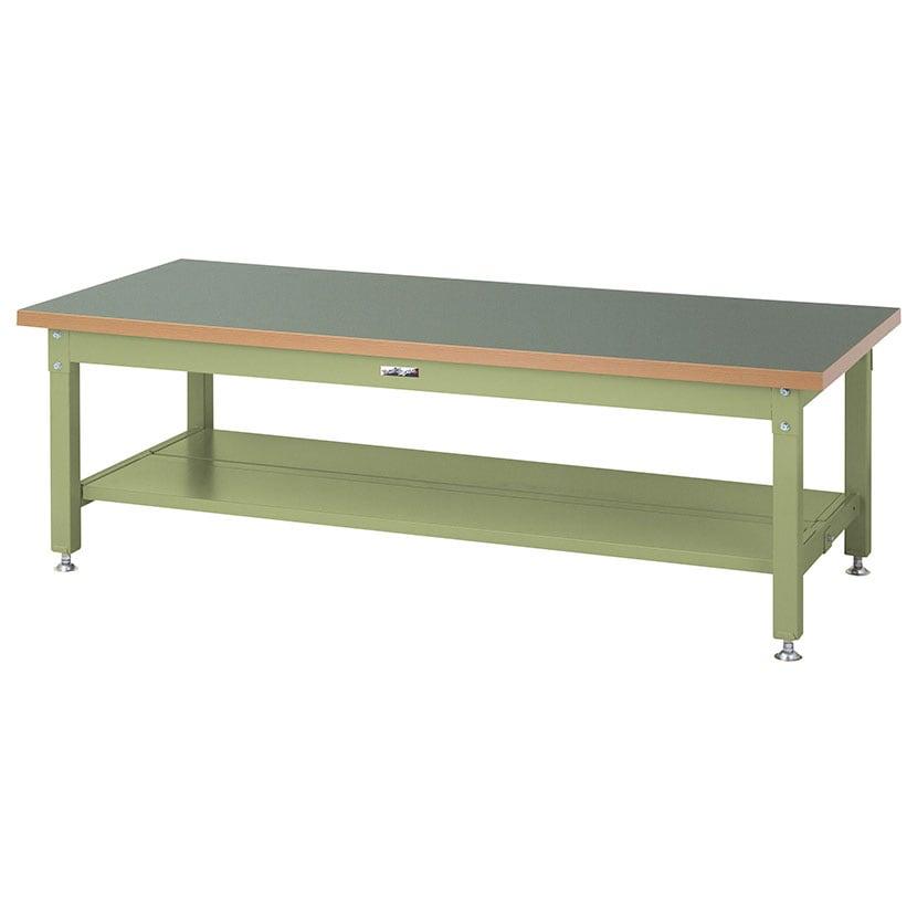 山金工業 ワークテーブル スーパータイプ 塩ビシート天板 全面棚板付き SSRL-1575TT 幅1500×奥行750×高さ600mm