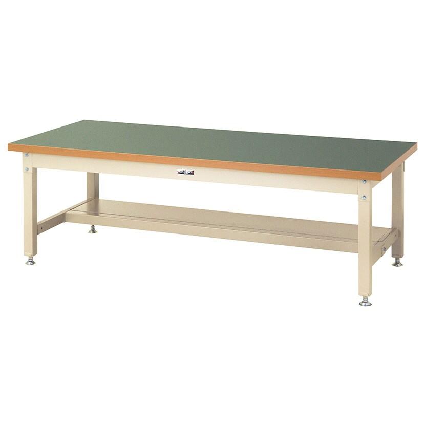 山金工業 ワークテーブル スーパータイプ 塩ビシート天板 半面棚板付き SSRL-1890T 幅1800×奥行900×高さ600mm