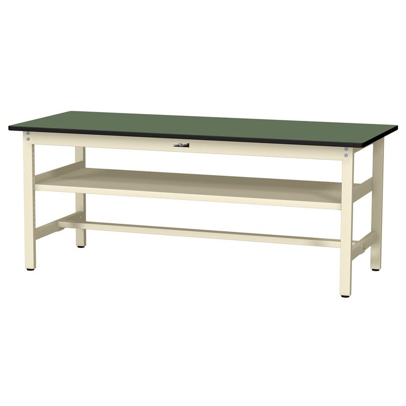 山金工業 ワークテーブル300シリーズ 固定式 中間棚付き 塩ビシート天板 SWR-775S2 幅750×奥行750×高さ740mm